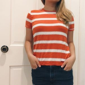 soft orange and white striped tee shirt